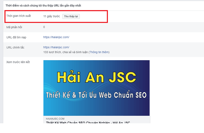 Facebook Debug Thu thập lại